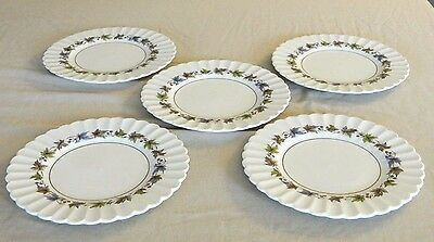 5 Bread/butter Plates -  Meakin England J & G – Woodland Classic White Pattern