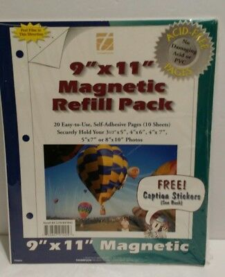 Magnetic Refill Pages 9x11 Self-Adhesive 10 Sheets Photos W/caption stickers NIP