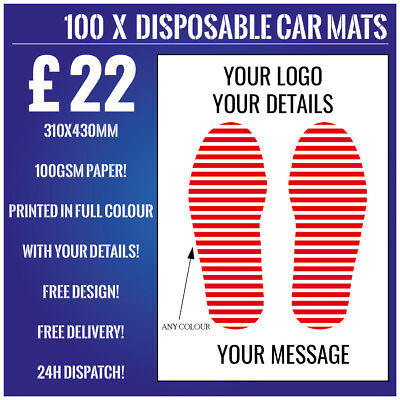 100 Personalised Disposable Car Mats, Full Colour, 100Gsm Paper, Free Delivery