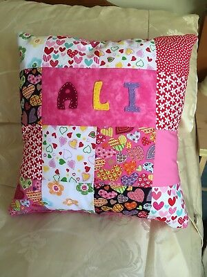 Personalised Childrens/ Girls Hearts and Flowers Patchwork Cushion Lovely Gift