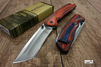 "8"" Buckshot Silver Spring Assisted Open Tanto Blade Tactical Pocket Knife Wood"