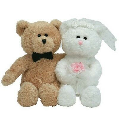 TY Beanie Baby - BLISSFUL the Wedding Bears (set of 2) (6.5 inch) - WITH TAGS