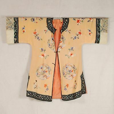 Late 19th/Early 20th c. Chinese robe in peach silk with fine embroidery