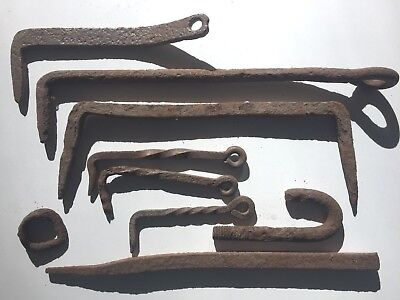 Antique Wrought Iron Hooks-Some twisted, Primitive- Corroded and Rusty Steel