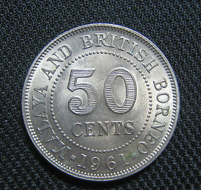 1961 50 Cents Malaya & British Borneo vintage coin money rare old currency QEII