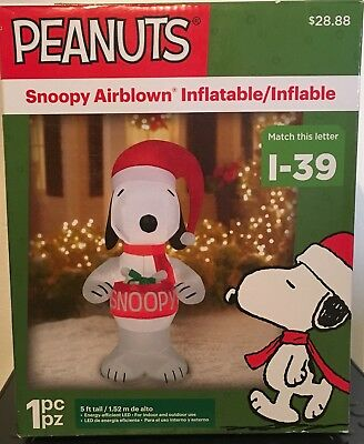 5Ft Tall Peanuts Snoopy Lighted Airblown Inflatable Yard Decoration New