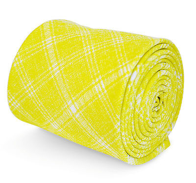 Frederick Thomas yellow and white check pattern tie in 100% cotton FT3197