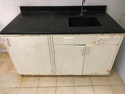 "60"" Laboratory Bench with Sink and Doors w/Rust"