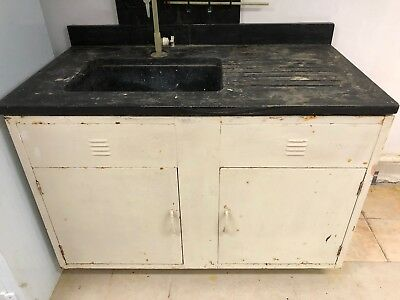 "52"" Laboratory Bench with Sink and Doors w/Rust"
