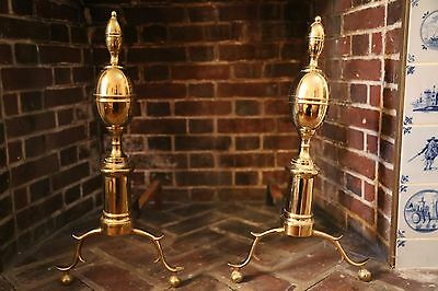 Vintage Williamsburg brass Federal Style Fireplace Andirons Made by Virginia Met