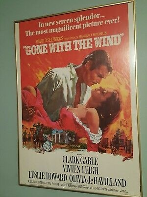 """Vintage 1976 Gone With The Wind   Big Framed Movie Poster 28"""" X 18"""" Great Condit"""