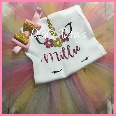 Birthday Girl Tutu Unicorn Glitter Bow Set Personalised with Name Age 1-8 years