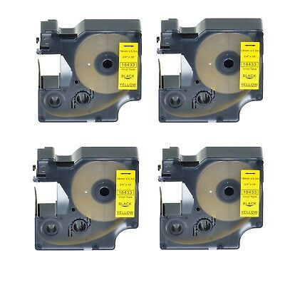 "4PK 18433 Black on Yellow Vinyl Label 3/4"" for DYMO RHINO 4200 5200 6000 Printer"