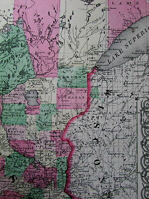 Minnesota state 1864 scarce Colton Civil War era old map transitional counties