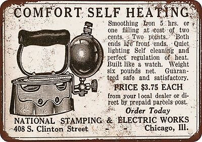 """7"""" x 10"""" Metal Sign - 1915 Self-Heating Irons - Vintage Look Reproduction"""