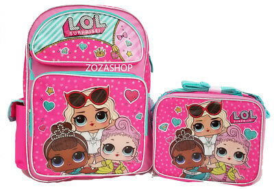 "L.O.L SURPRISE! Large 16"" Backpack & Lunch bag 2 pc LOL Pink Backpack New@@"