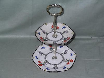 LGS Foley Field Poppy Bone China 2-Tier Biscuit Plate Small Cakestand
