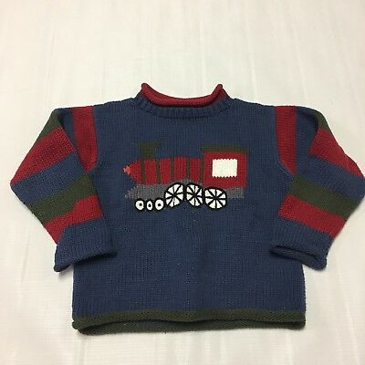 MULBERRIBUSH Boutique Toddler Boys Sweater Sz 4T Trains 100% Cotton Hand Loomed