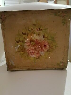 Hand Painted Floral Antique French Metal Tole Bin with Removable Insert