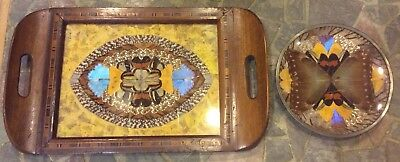 Vintage Mid Century BUTTERFLY WING ART Inlaid Parquetry Wood Serving Tray & Dish