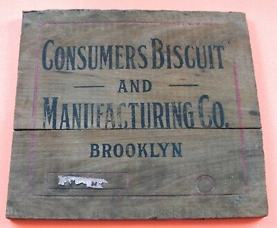 Vtg Antique Consumers Biscuit & Manufacturing Co. Brooklyn Wood Crate End