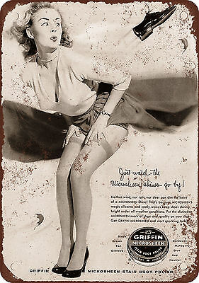 "7"" x 10"" Metal Sign - 1957 Microsheen Boot Polish and Cheesecake - Vintage Look"