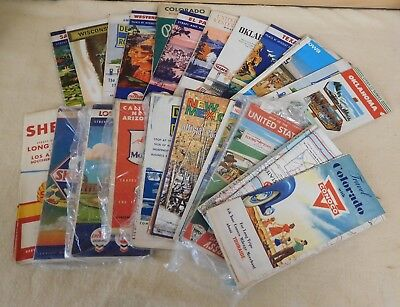 Lot of 25 Vintage ROAD MAPS for Various States OK CO AZ Conoco +More (TH711/6)