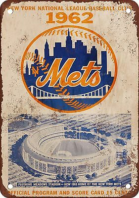 "7"" x 10"" Metal Sign - 1962 New York Mets - Vintage Look Reproduction"