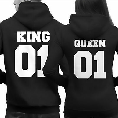 King 01 and Queen 01 Couple Hoodie Matching Hoodies Sweatshirts Pullover Jumper