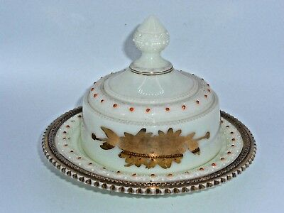 Antique Heisey EAPG Ivorina Verde Ring Band Covered Butter Dish #310 Gold Trim