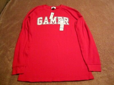 Boy's Youth Old Navy Red Gamer Graphic Long Sleeve Thermal Shirt Size XL (14-16)