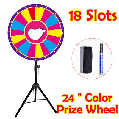 """24"""" Tabletop Color Dry Erase Prize Wheel Stand Fortune Folding Spinning Game"""
