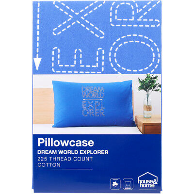 "House & Home  ""Dream world Explorer"" Print Pillowcase - Blue"