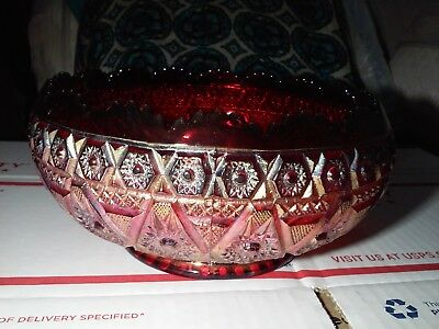 RARE Vintage Imperial Ruby Red Gold Iridescent Carnival Glass Bowl