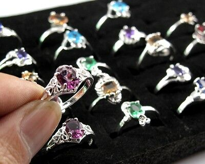 Wholesale 10pcs/lot Fashion Women Jewelry 925 Silver Rings Size 6-9 Mixed Color