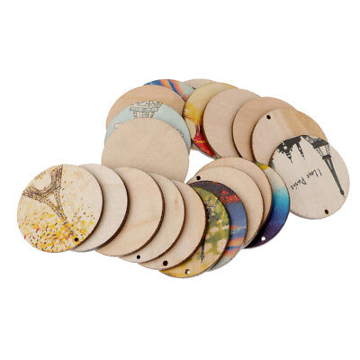 20pcs Round Painted Wood Pieces Home Party Hanging Gift Tag DIY Scrapbooking