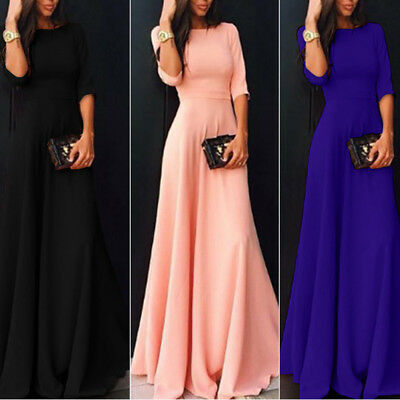Women Prom Dress Long Sleeve Formal Party Evening Maxi Dresses Size S M L XL XXL