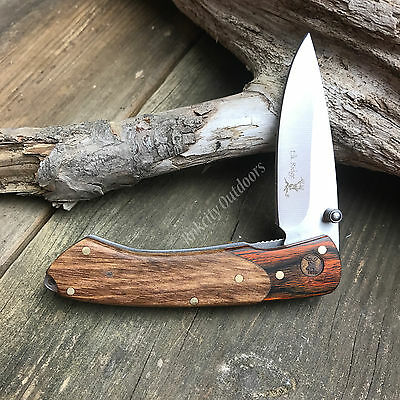 "Elk Ridge 4"" Closed Two Tone Gentleman's Wood Handle Folding Pocket Knife New!"