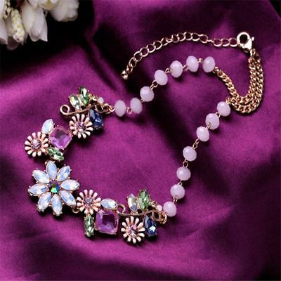 Classic Statement Jewelry Crystal Necklace Elegant Flower Pendant Vintage