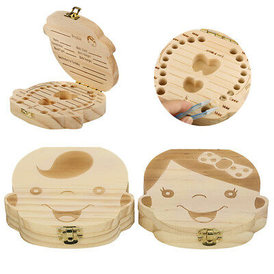 Wooden Tooth Storage Box Small Kids Keepsake Boys Girls Teeth Save Organizer UK