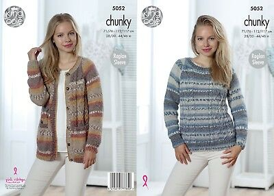 KINGCOLE 5052 ADULT Chunky KNITTING PATTERN  28- 46in -not the finished items