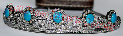 9.80cts ROSE CUT DIAMOND TURQUOISE 925 SILVER  WEDDING ANNIVERSARY  TIARA Crown