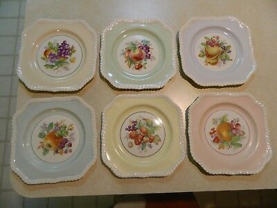 "Vintage Lot of 6 Johnson Bros ""Old English"" Square Salad Plates w/ Fruit Motif"