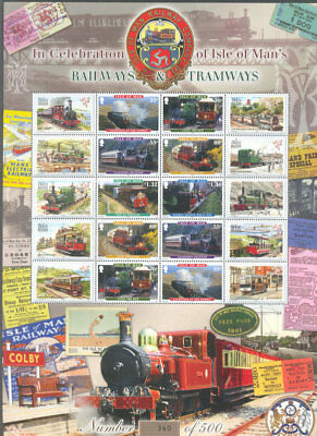 Isle of Man-Railways-Tramways limited printing(500)Special sheet mnh-no.340