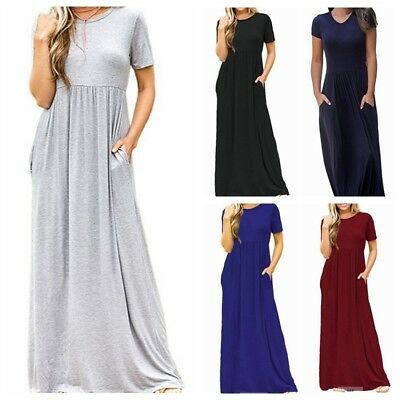 Women Pocket Short Sleeve Maxi Dresses Round Neck Loose Slim Long Casual Dresses