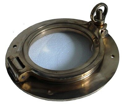 "Marine BRASS PORT HOLE / Window / Porthole - 5.5"" INCHES - TOUGHENED GLASS"