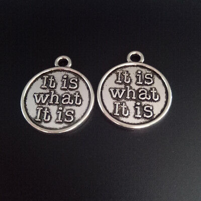 10pcs Words Charms What It is Round Tibetan Silver Beads Pendant Diy 20*24mm