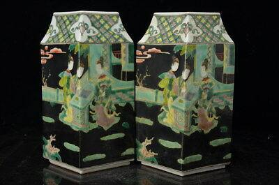 A Pair Fine Beautiful Old Chinese San Cai Porcelain Vase