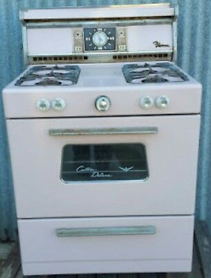 PINK !!! Old Antique Vintage Gas Cook Stove Range Oven Burners