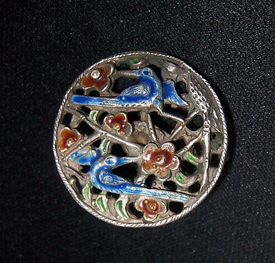 The enamel button of the ancient relic pure silver